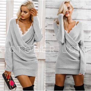 COMING SOON!! Light Gray Sweater Dress